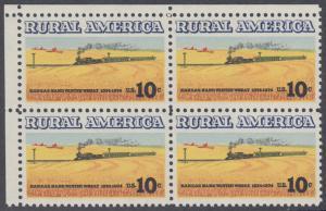 USA Michel 1155 / Scott 1506 postfrisch BLOCK ECKRAND oben links - Ländliches Amerika: Zug zwischen Weizenfeldern