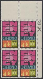 USA Michel 1156 / Scott 1547 postfrisch PLATEBLOCK ECKRAND oben rechts m/ Platten-# 35101 - Weltenergiekonferenz