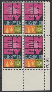USA Michel 1156 / Scott 1547 postfrisch PLATEBLOCK ECKRAND unten rechts m/ Platten-# 35103 - Weltenergiekonferenz
