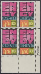 USA Michel 1156 / Scott 1547 postfrisch PLATEBLOCK ECKRAND unten rechts m/ Platten-# 35104 - Weltenergiekonferenz
