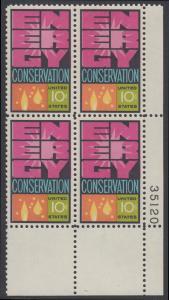 USA Michel 1156 / Scott 1547 postfrisch PLATEBLOCK ECKRAND unten rechts m/ Platten-# 35120 - Weltenergiekonferenz