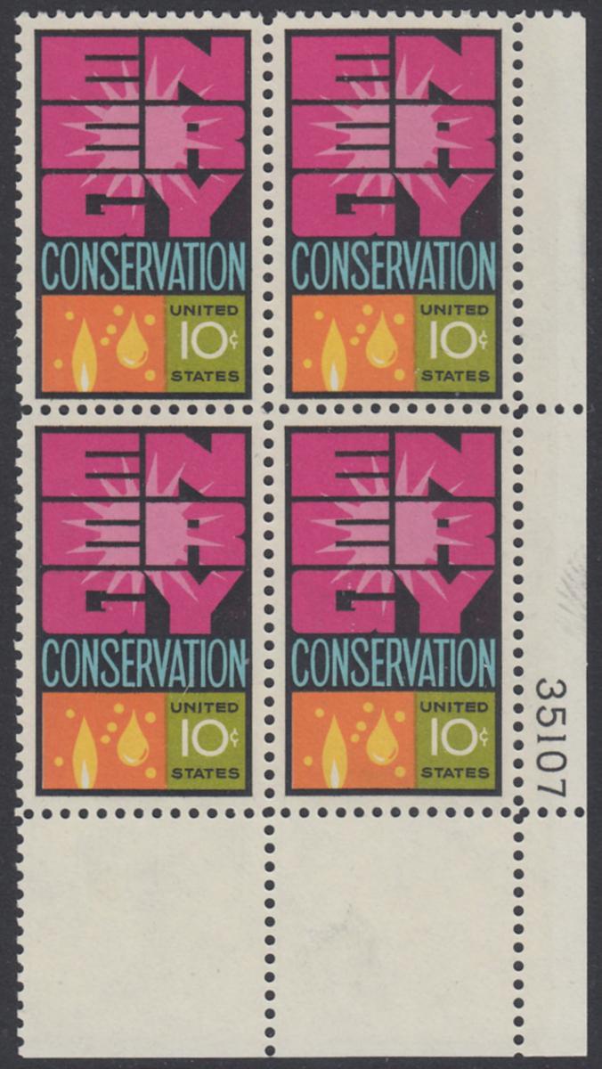 USA Michel 1156 / Scott 1547 postfrisch PLATEBLOCK ECKRAND unten rechts m/ Platten-# 35107 (a) - Weltenergiekonferenz 0
