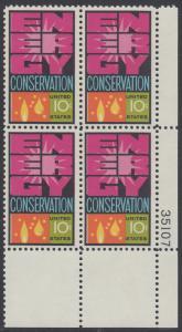 USA Michel 1156 / Scott 1547 postfrisch PLATEBLOCK ECKRAND unten rechts m/ Platten-# 35107 (b) - Weltenergiekonferenz