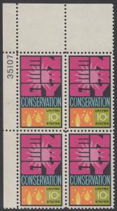 USA Michel 1156 / Scott 1547 postfrisch PLATEBLOCK ECKRAND oben links m/ Platten-# 35107 - Weltenergiekonferenz