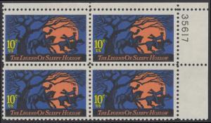 USA Michel 1158 / Scott 1548 postfrisch PLATEBLOCK ECKRAND oben rechts m/ Platten-# 35617 (a) - Amerikanische Folklore: Legend of Sleepy Hollow