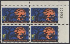 USA Michel 1158 / Scott 1548 postfrisch PLATEBLOCK ECKRAND oben rechts m/ Platten-# 35652 - Amerikanische Folklore: Legend of Sleepy Hollow