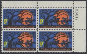 USA Michel 1158 / Scott 1548 postfrisch PLATEBLOCK ECKRAND oben rechts m/ Platten-# 35617 (b) - Amerikanische Folklore: Legend of Sleepy Hollow
