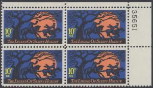 USA Michel 1158 / Scott 1548 postfrisch PLATEBLOCK ECKRAND oben rechts m/ Platten-# 35651 - Amerikanische Folklore: Legend of Sleepy Hollow