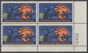 USA Michel 1158 / Scott 1548 postfrisch PLATEBLOCK ECKRAND unten rechts m/ Platten-# 35651 - Amerikanische Folklore: Legend of Sleepy Hollow