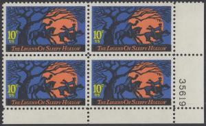 USA Michel 1158 / Scott 1548 postfrisch PLATEBLOCK ECKRAND unten rechts m/ Platten-# 35619 - Amerikanische Folklore: Legend of Sleepy Hollow