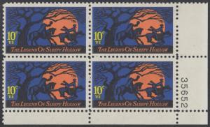 USA Michel 1158 / Scott 1548 postfrisch PLATEBLOCK ECKRAND unten rechts m/ Platten-# 35652 - Amerikanische Folklore: Legend of Sleepy Hollow
