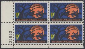 USA Michel 1158 / Scott 1548 postfrisch PLATEBLOCK ECKRAND unten links m/ Platten-# 35652 (a) - Amerikanische Folklore: Legend of Sleepy Hollow