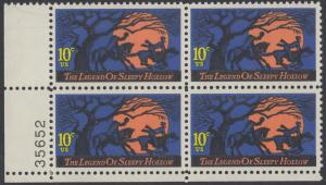 USA Michel 1158 / Scott 1548 postfrisch PLATEBLOCK ECKRAND unten links m/ Platten-# 35652 (b) - Amerikanische Folklore: Legend of Sleepy Hollow