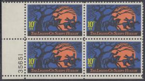 USA Michel 1158 / Scott 1548 postfrisch PLATEBLOCK ECKRAND unten links m/ Platten-# 35651 (a) - Amerikanische Folklore: Legend of Sleepy Hollow