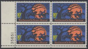 USA Michel 1158 / Scott 1548 postfrisch PLATEBLOCK ECKRAND unten links m/ Platten-# 35651 (b) - Amerikanische Folklore: Legend of Sleepy Hollow