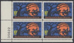 USA Michel 1158 / Scott 1548 postfrisch PLATEBLOCK ECKRAND unten links m/ Platten-# 35622 - Amerikanische Folklore: Legend of Sleepy Hollow