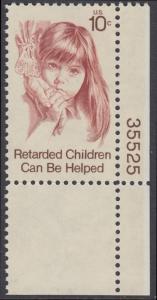 USA Michel 1159 / Scott 1549 postfrisch EINZELMARKE ECKRAND unten rechts m/ Platten-# 35525 - Hilfe für behinderte Kinder