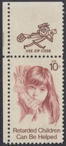 USA Michel 1159 / Scott 1549 postfrisch EINZELMARKE ECKRAND oben links m/ ZIP-Emblem - Hilfe für behinderte Kinder