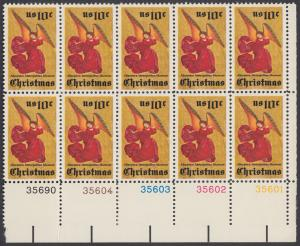 USA Michel 1160 / Scott 1550 postfrisch horiz.PLATEBLOCK(10) RÄNDER unten - Weihnachten; Engel, Altarbild eines unbekannten französischen Meisters