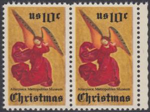 USA Michel 1160 / Scott 1550 postfrisch horiz.PAAR RAND rechts - Weihnachten; Engel, Altarbild eines unbekannten französischen Meisters