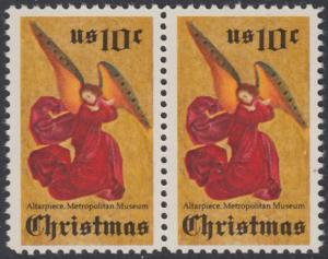 USA Michel 1160 / Scott 1550 postfrisch horiz.PAAR - Weihnachten; Engel, Altarbild eines unbekannten französischen Meisters