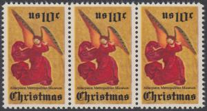 USA Michel 1160 / Scott 1550 postfrisch horiz.STRIP(3) - Weihnachten; Engel, Altarbild eines unbekannten französischen Meisters