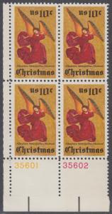 USA Michel 1160 / Scott 1550 postfrisch BLOCK ECKRAND unten links m/ Platten-# 35601 - Weihnachten; Engel, Altarbild eines unbekannten französischen Meisters