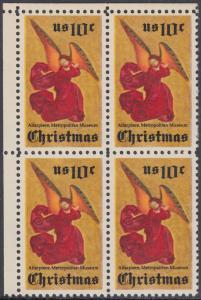 USA Michel 1160 / Scott 1550 postfrisch BLOCK ECKRAND oben links - Weihnachten; Engel, Altarbild eines unbekannten französischen Meisters