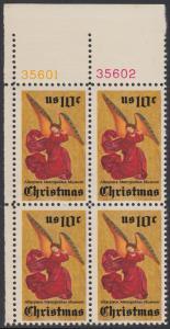 USA Michel 1160 / Scott 1550 postfrisch BLOCK ECKRAND oben links m/ Platten-# 35601 - Weihnachten; Engel, Altarbild eines unbekannten französischen Meisters