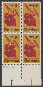 USA Michel 1160 / Scott 1550 postfrisch BLOCK RÄNDER unten m/ Platten-# 36605 - Weihnachten; Engel, Altarbild eines unbekannten französischen Meisters