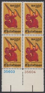 USA Michel 1160 / Scott 1550 postfrisch BLOCK RÄNDER unten m/ Platten-# 36603 - Weihnachten; Engel, Altarbild eines unbekannten französischen Meisters