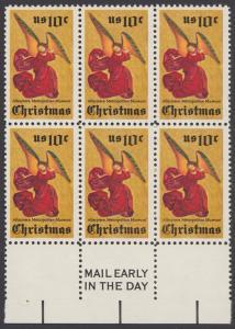 USA Michel 1160 / Scott 1550 postfrisch horiz.BLOCK(6) RÄNDER unten m/ Mail Early-Vermerk (r) - Weihnachten; Engel, Altarbild eines unbekannten französischen Meisters
