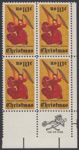 USA Michel 1160 / Scott 1550 postfrisch ZIP-BLOCK (lr) - Weihnachten; Engel, Altarbild eines unbekannten französischen Meisters