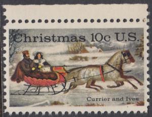 USA Michel 1161 / Scott 1551 postfrisch EINZELMARKE RAND oben - Weihnachten; Schlittenfahrt; Zeichnung von Otto Knirsch