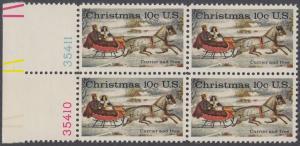 USA Michel 1161 / Scott 1551 postfrisch BLOCK RÄNDER links m/ Platten-# 35410 - Weihnachten; Schlittenfahrt; Zeichnung von Otto Knirsch