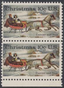 USA Michel 1161 / Scott 1551 postfrisch vert.PAAR RAND unten - Weihnachten; Schlittenfahrt; Zeichnung von Otto Knirsch