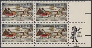 USA Michel 1161 / Scott 1551 postfrisch ZIP-BLOCK (lr) - Weihnachten; Schlittenfahrt; Zeichnung von Otto Knirsch