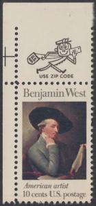 USA Michel 1163 / Scott 1553 postfrisch EINZELMARKE ECKRAND oben links m/ ZIP-Emblem - Amerikanische Künstler: Benjamin West, Maler