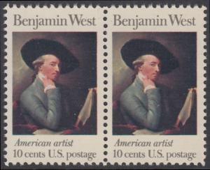 USA Michel 1163 / Scott 1553 postfrisch horiz.PAAR - Amerikanische Künstler: Benjamin West, Maler