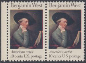 USA Michel 1163 / Scott 1553 postfrisch horiz.PAAR RAND links - Amerikanische Künstler: Benjamin West, Maler