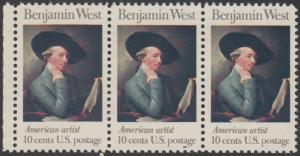 USA Michel 1163 / Scott 1553 postfrisch horiz.STRIP(3) RAND links - Amerikanische Künstler: Benjamin West, Maler