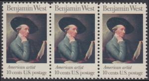 USA Michel 1163 / Scott 1553 postfrisch horiz.STRIP(3) - Amerikanische Künstler: Benjamin West, Maler