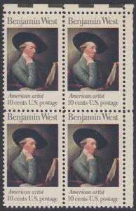 USA Michel 1163 / Scott 1553 postfrisch BLOCK ECKRAND oben rechts - Amerikanische Künstler: Benjamin West, Maler