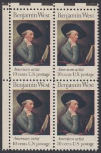 USA Michel 1163 / Scott 1553 postfrisch BLOCK ECKRAND oben links - Amerikanische Künstler: Benjamin West, Maler