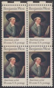 USA Michel 1163 / Scott 1553 postfrisch BLOCK RÄNDER oben - Amerikanische Künstler: Benjamin West, Maler