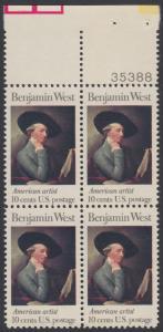 USA Michel 1163 / Scott 1553 postfrisch BLOCK RÄNDER oben m/ Platten-# 35388 - Amerikanische Künstler: Benjamin West, Maler