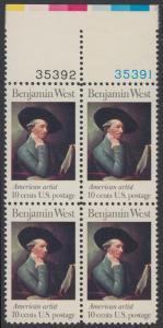 USA Michel 1163 / Scott 1553 postfrisch BLOCK RÄNDER oben m/ Platten-# 35391 - Amerikanische Künstler: Benjamin West, Maler