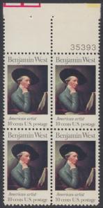 USA Michel 1163 / Scott 1553 postfrisch BLOCK RÄNDER oben m/ Platten-# 35393 - Amerikanische Künstler: Benjamin West, Maler