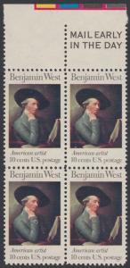 USA Michel 1163 / Scott 1553 postfrisch BLOCK RÄNDER oben m/ Mail Early-Vermerk - Amerikanische Künstler: Benjamin West, Maler