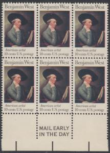 USA Michel 1163 / Scott 1553 postfrisch horiz.BLOCK(6) RÄNDER unten m/ Mail Early-Vermerk - Amerikanische Künstler: Benjamin West, Maler